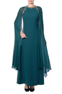 Green sheer cape gown