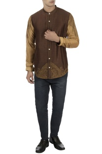 Brown & beige chanderi shirt