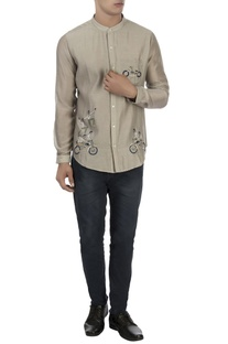 Beige patchwork embroidered shirt