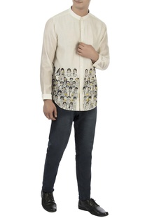 White thread embroidered shirt