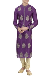 Purple thread embroidered kurta