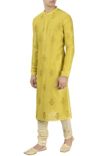 Yellow patra embroidered kurta