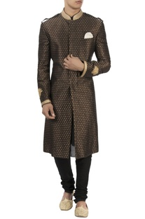 Black & gold lotus embroidered sherwani