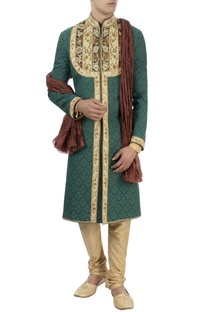 Green embroidered sherwani with stole