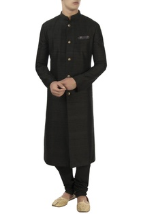 Black raw silk pleated sherwani