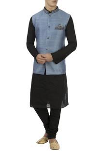 Ash blue zardozi embroidered nehru jacket