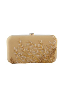 Gold & beige sequin embellished clutch