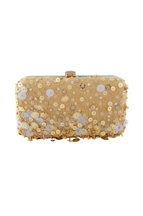 Beige clutch with sequin embellishments