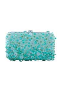 Blue & green sequin embellished clutch