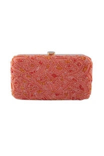 Peach bead embellished clutch