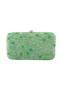 Green bead embellished clutch
