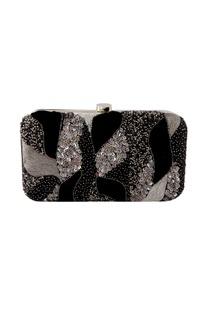 Black sequin embellished clutch