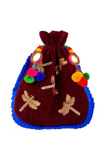 Burgundy potli with mirror & pom-pom accents