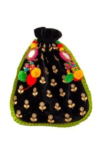 Black pompom traditional potli