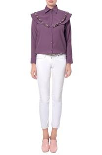 Lilac cape style blouse