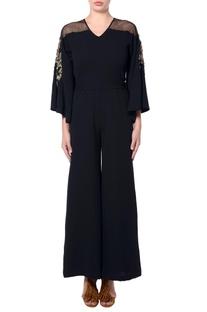 Black flared sleeves jumpsuit