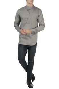 Grey high collar shirt