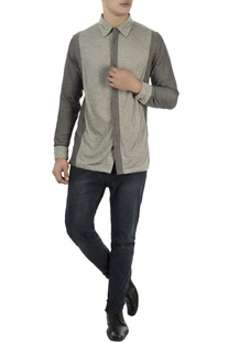 Grey color block cotton shirt