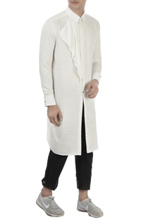 White cotton long kurta