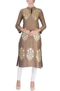 Beige sequin embellished kurta