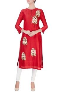 Red tree motif midi kurta