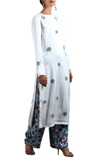 White embroidered kurta & floral palazzos