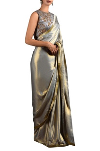Metallic grey sari & blouse