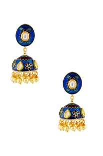 Blue & gold meena kundan earrings