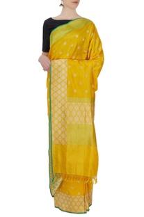 Yellow silk sari with blouse piece