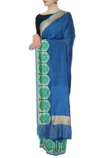 Blue silk sari with blouse piece