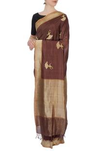 Brown banarasi silk sari with blouse piece
