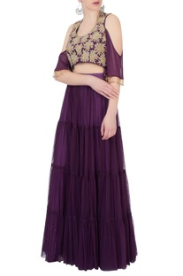 Purple lehenga & cold-shoulder blouse