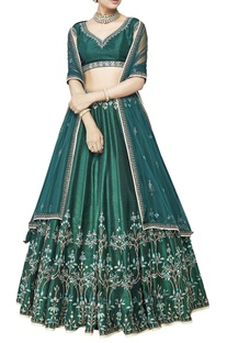 Emerald embroidered silk lehenga set