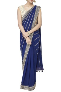 Blue embroidered sari with blouse & petticoat piece
