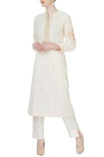 White embroidered kurta & pants