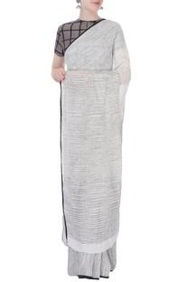White hand-woven linen sari