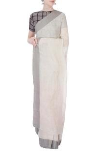 White linen sari with grey border
