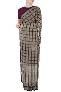 Grey sari with silk grid pattern