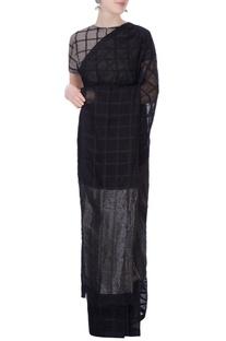 Black sari in silk grid pattern