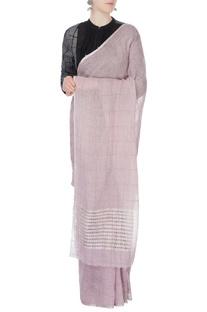Lilac linen sari with cutout pallu