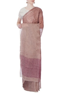 Pink linen sari in ombre pattern