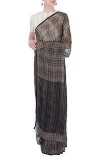 Grey & black checkered linen sari