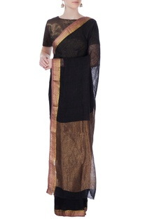 Black linen sari with jhandi border