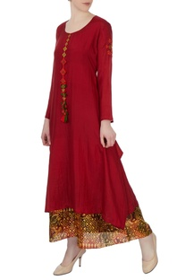 Maroon double layer silk kurta