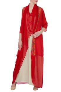 Red draped jacket with beige inner