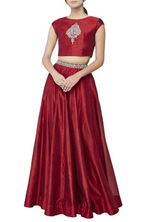 Red embroidered crop top & skirt