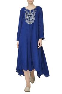 Blue asymmetric georgette tunic