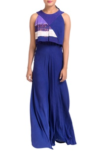 Blue & purple box pleated jumpsuit