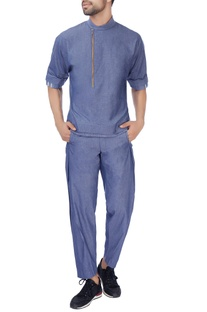 Blue textured cotton trousers