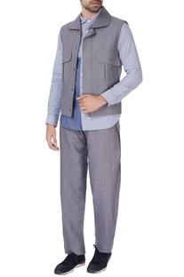 Slate grey linen nehru jacket